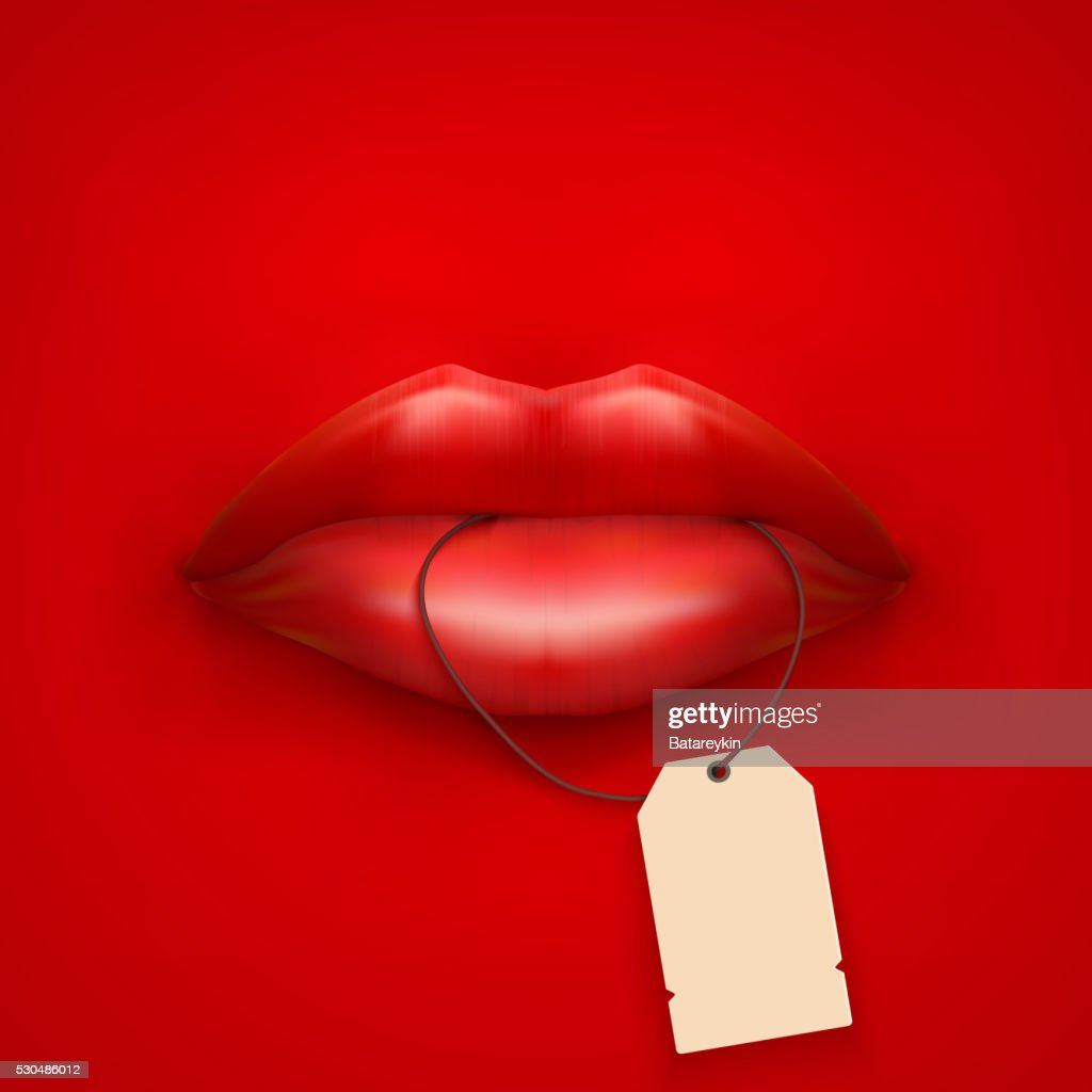 Background of Womans mouth with tag and lips