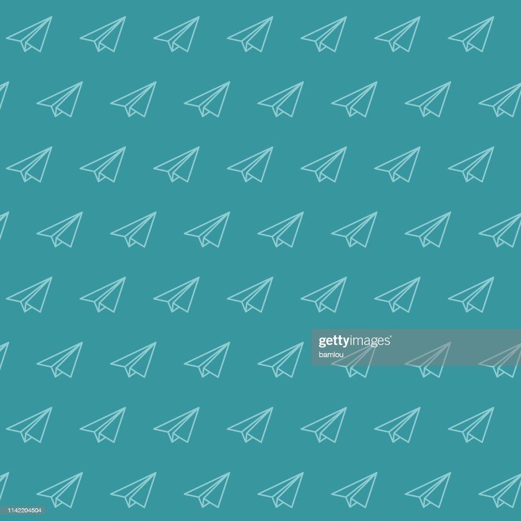 Background Paper Plane Seamless Pattern