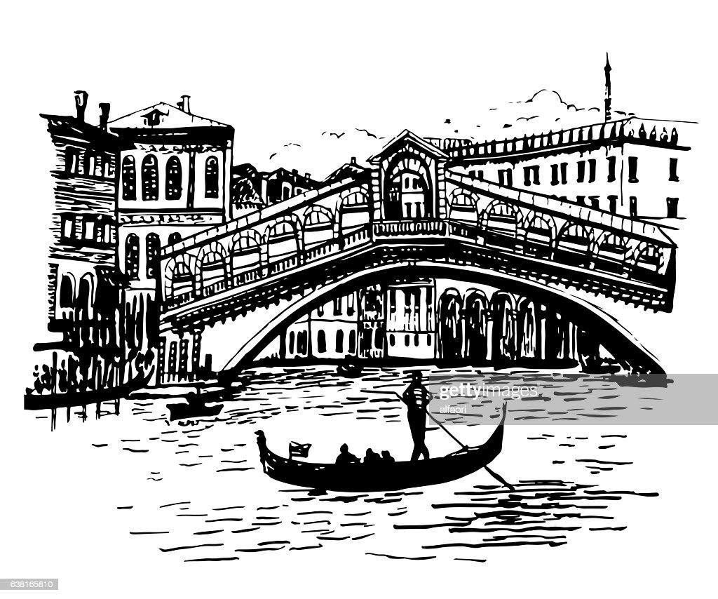 background picture view of Rialto Bridge in Venice