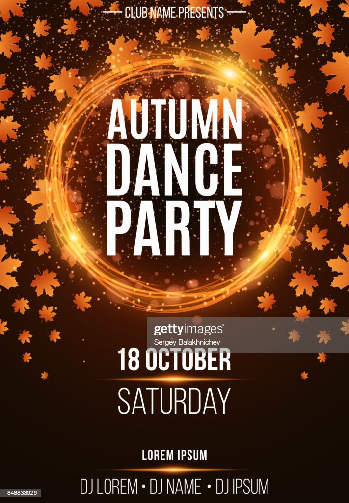 Background Poster For Autumn Dance Party Shining Orange Banner With Golden Rain Abstract Orange Lights Seasonal Poster Dj And Club Name Vector Illustration High Res Vector Graphic Getty Images