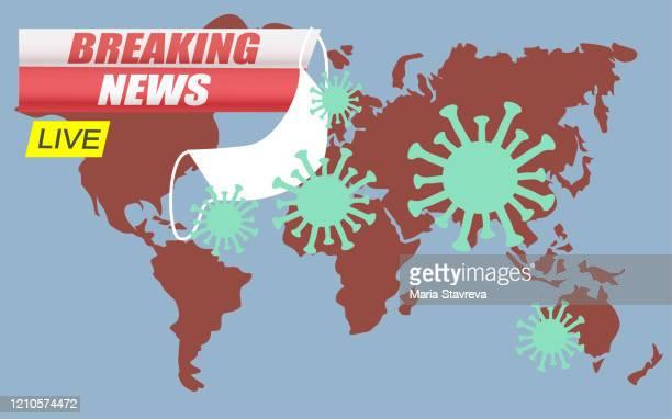 ニュース速報の背景スクリーンセーバー。コロナウイルスは全世界を攻撃します。 - パンデミック点のイラスト素材/クリップアート素材/マンガ素材/アイコン素材