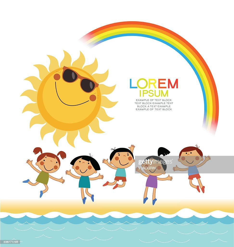 Background summer with the kids, rainbow, sun, sea.
