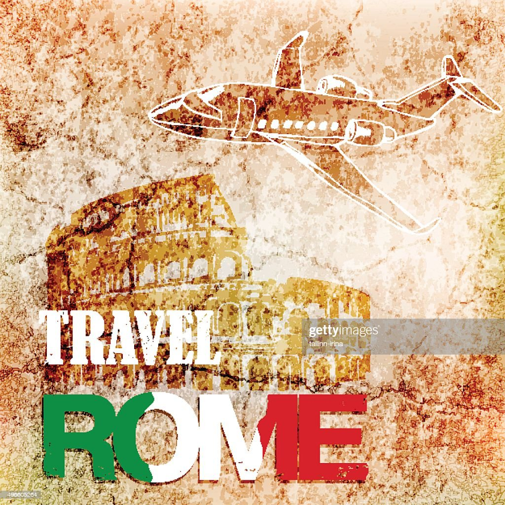 background travel to Rome on ancient wall.vector illustration