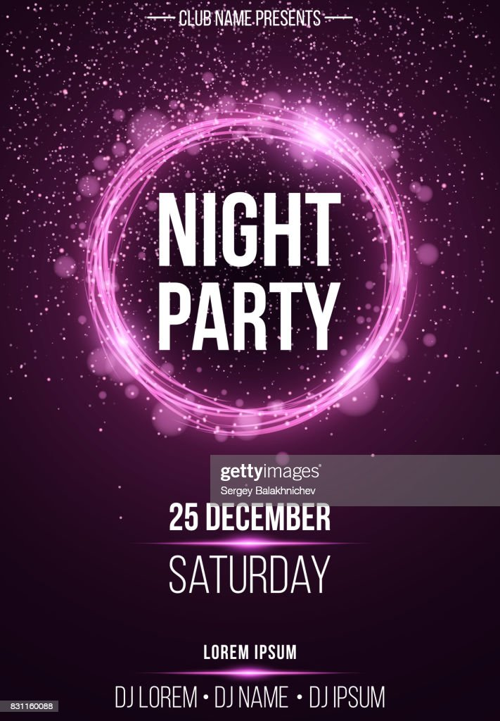 Background vertical poster for a night party. Shining purple banner with purple dust. Abstract purple lights. Festive poster. DJ and club name. Vector illustration