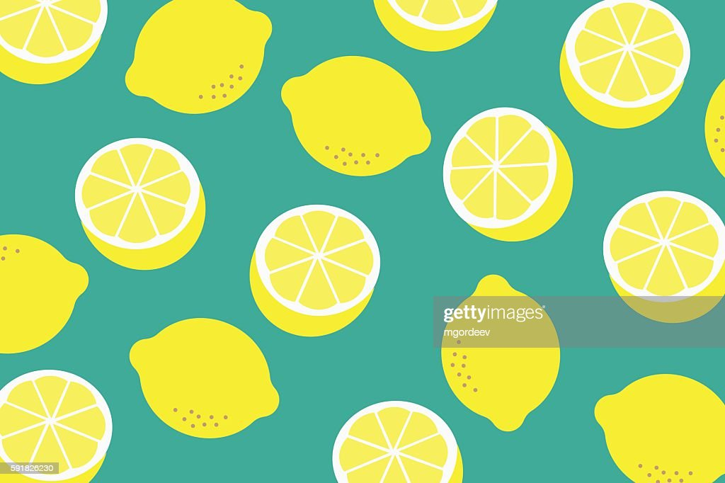 Background with a pattern of yellow lemons : stock illustration