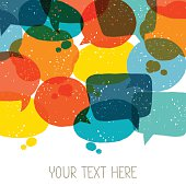 Background with abstract retro grunge speech bubbles