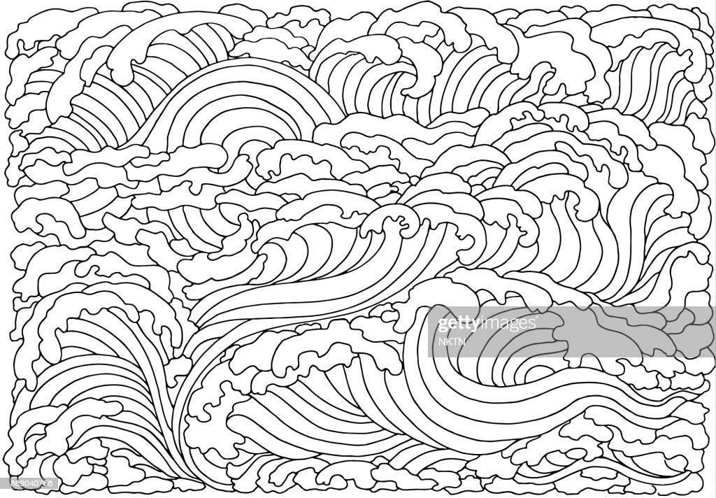 Achtergrond Met Abstracte Golven Zwartwit Doodle Vectorillustratie