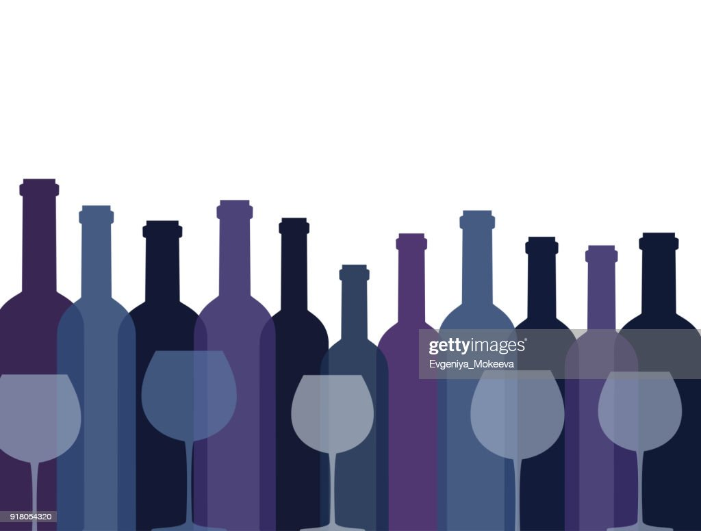 Background with bottles of wine and glasses.
