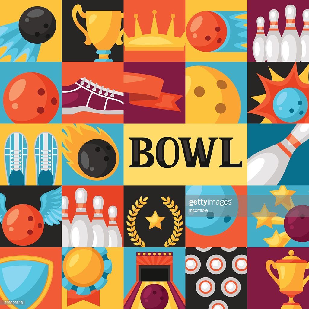 background with bowling items image for advertising booklets banners