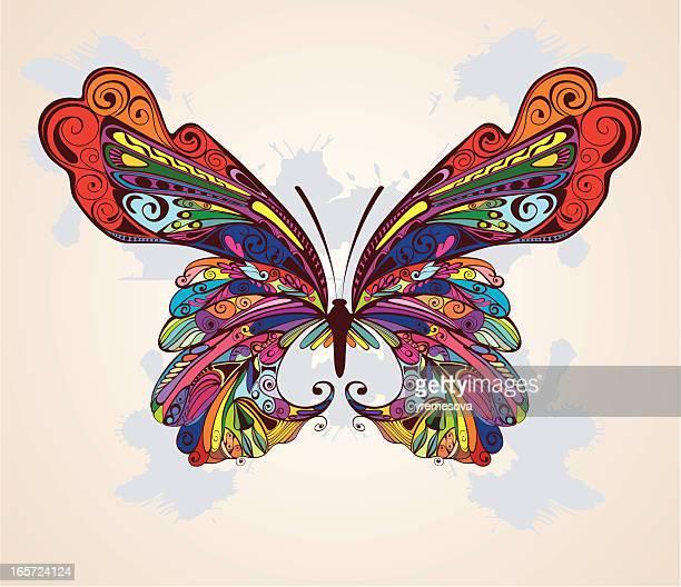 ilustrações, clipart, desenhos animados e ícones de fundo com borboleta - asa animal