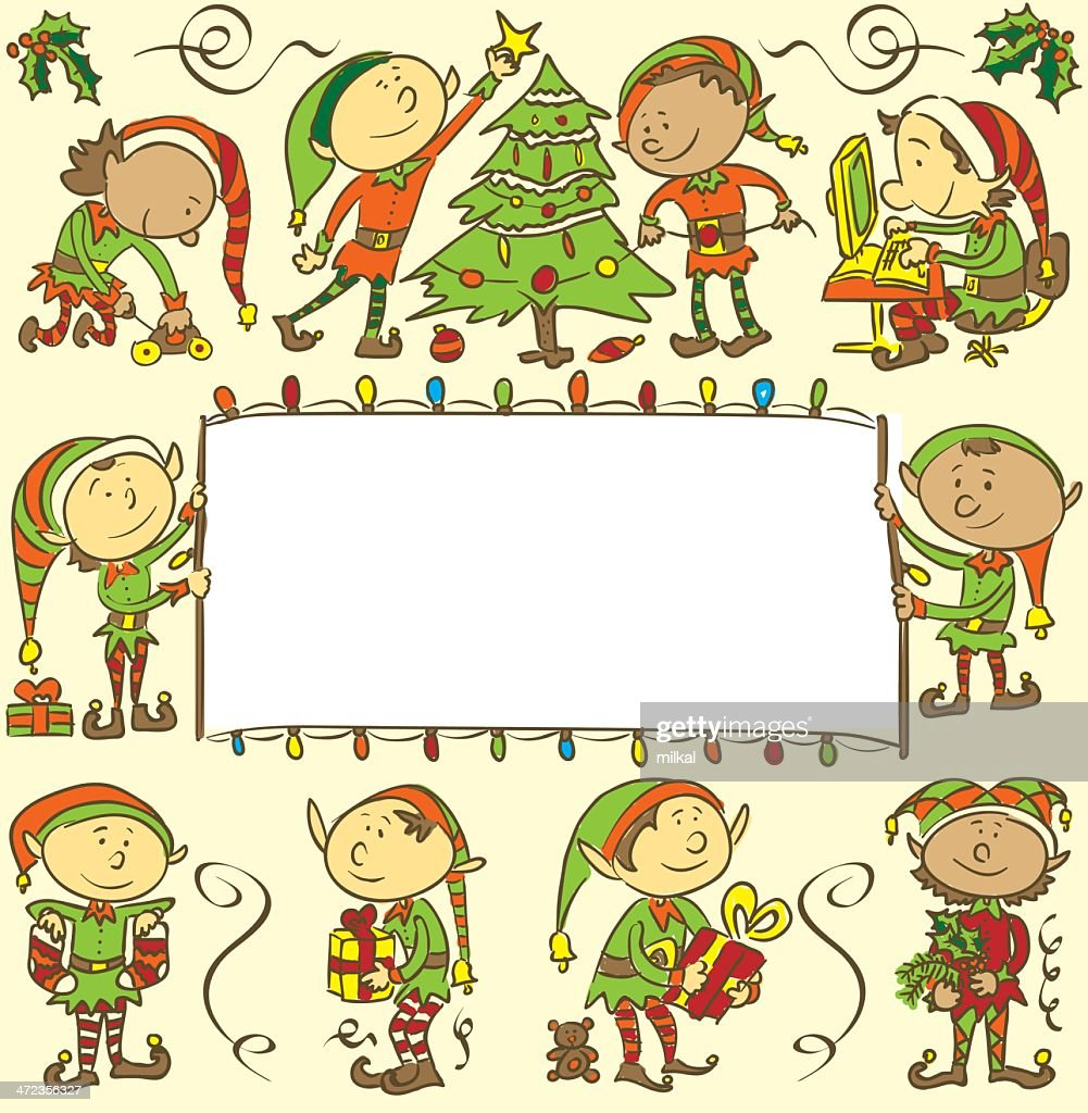 Background with christmas elves