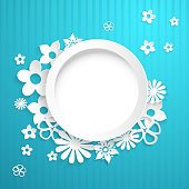 Background with circle and paper flowers