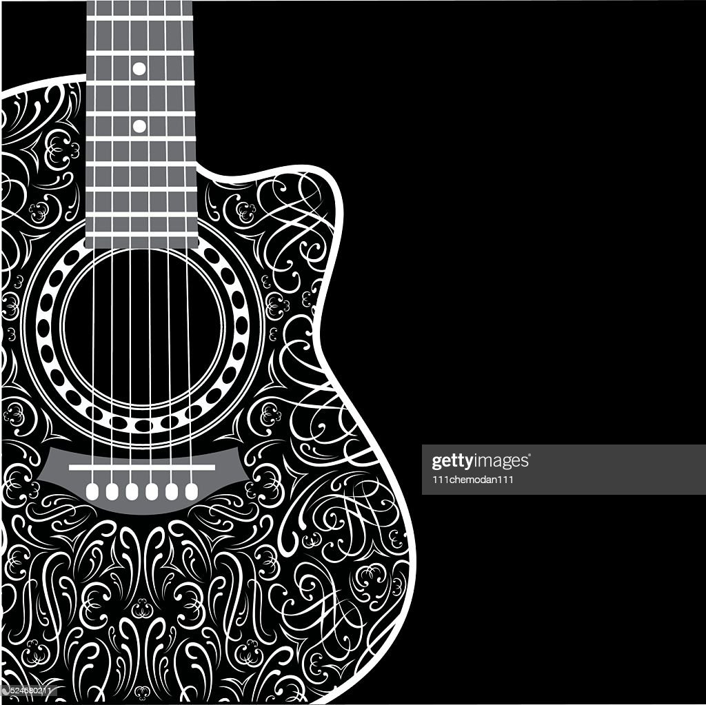 background with clipped guitar and stylish ornament