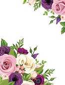Background with colorful roses and lisianthus flowers. Vector illustration.
