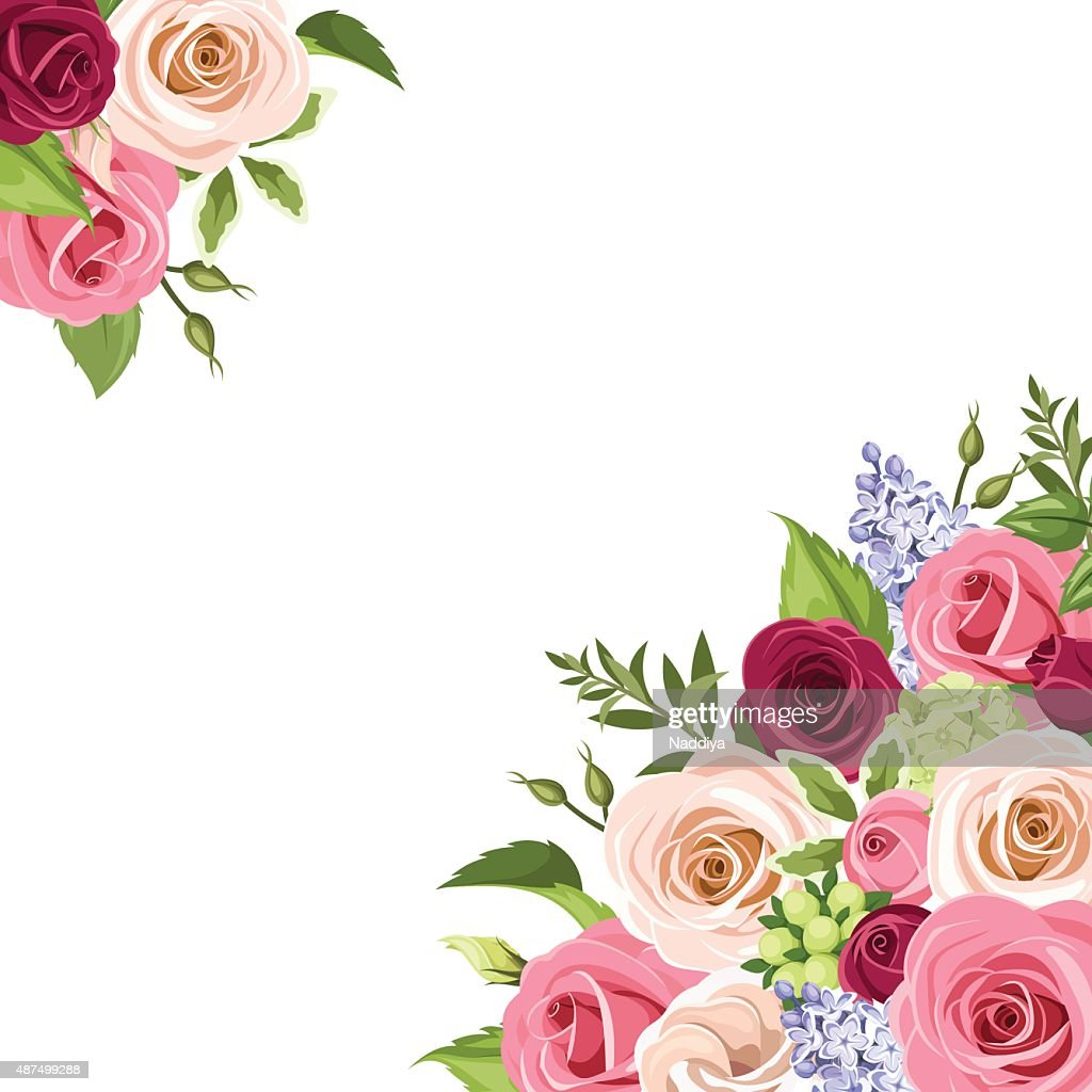 Background with colorful roses. Vector illustration.