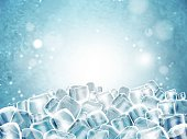 Background with cubes of transparent ice. Highly detailed realistic illustration.