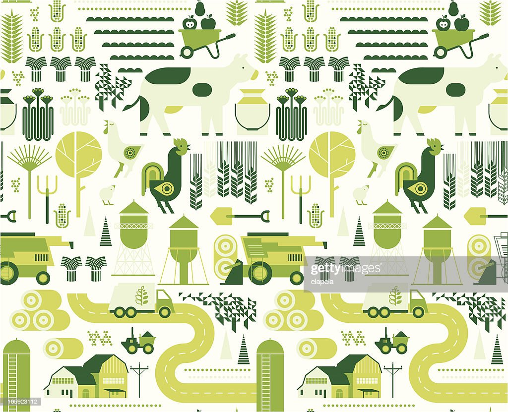 Background with farm silhouettes