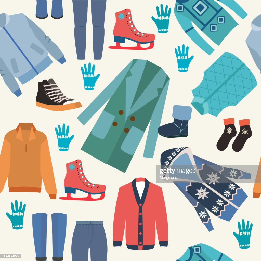 Background with fashion winter clothes collection