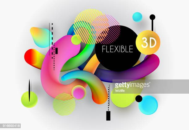 ilustraciones, imágenes clip art, dibujos animados e iconos de stock de fondo con formas flexibles de 3d abstractas - tridimensional