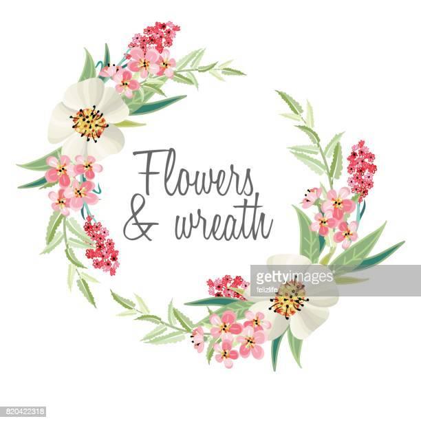 ilustraciones, imágenes clip art, dibujos animados e iconos de stock de fondo con ramos de flores - corona