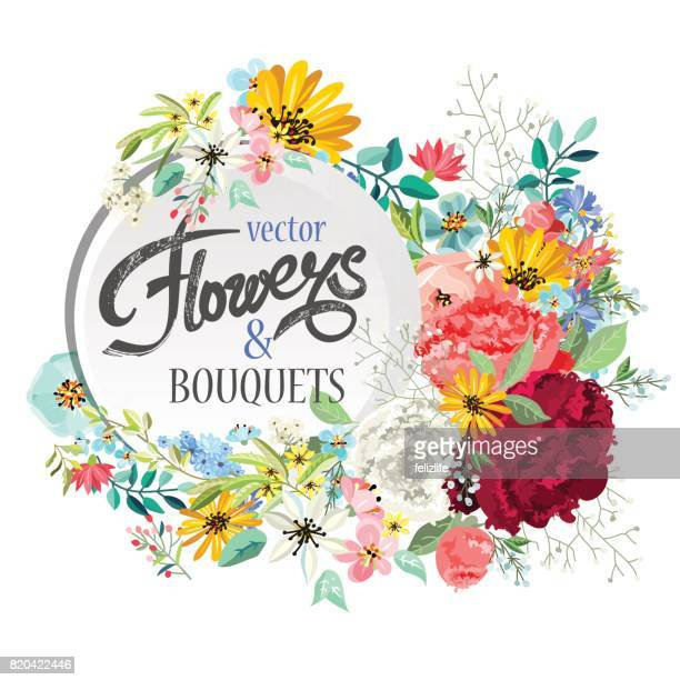 background with floral bouquets