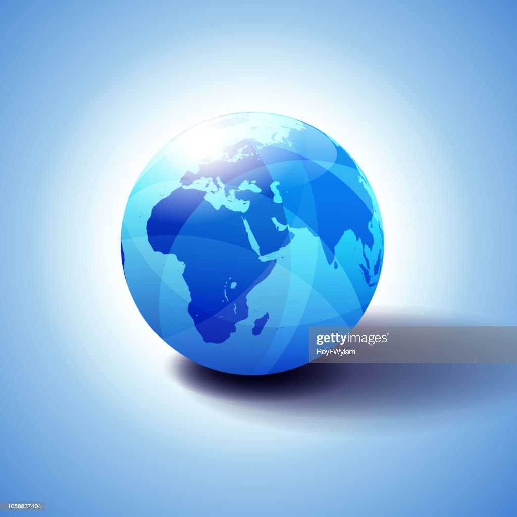 Background with Globe Icon 3D illustration, Glossy, Shiny Sphere with Global Map in Subtle Blues giving a transparent feel