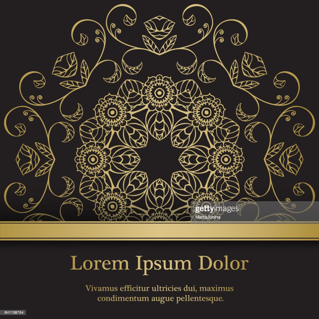 Background with gold graphic florals