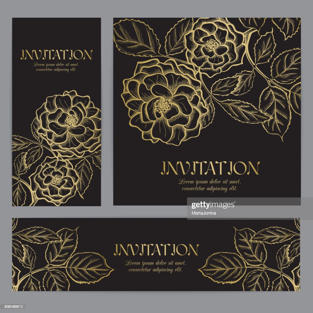 Background with gold rose graphic flowers.