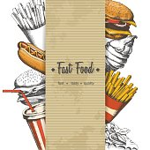 Background with hand-drawn fast food isolated on white. Sketch
