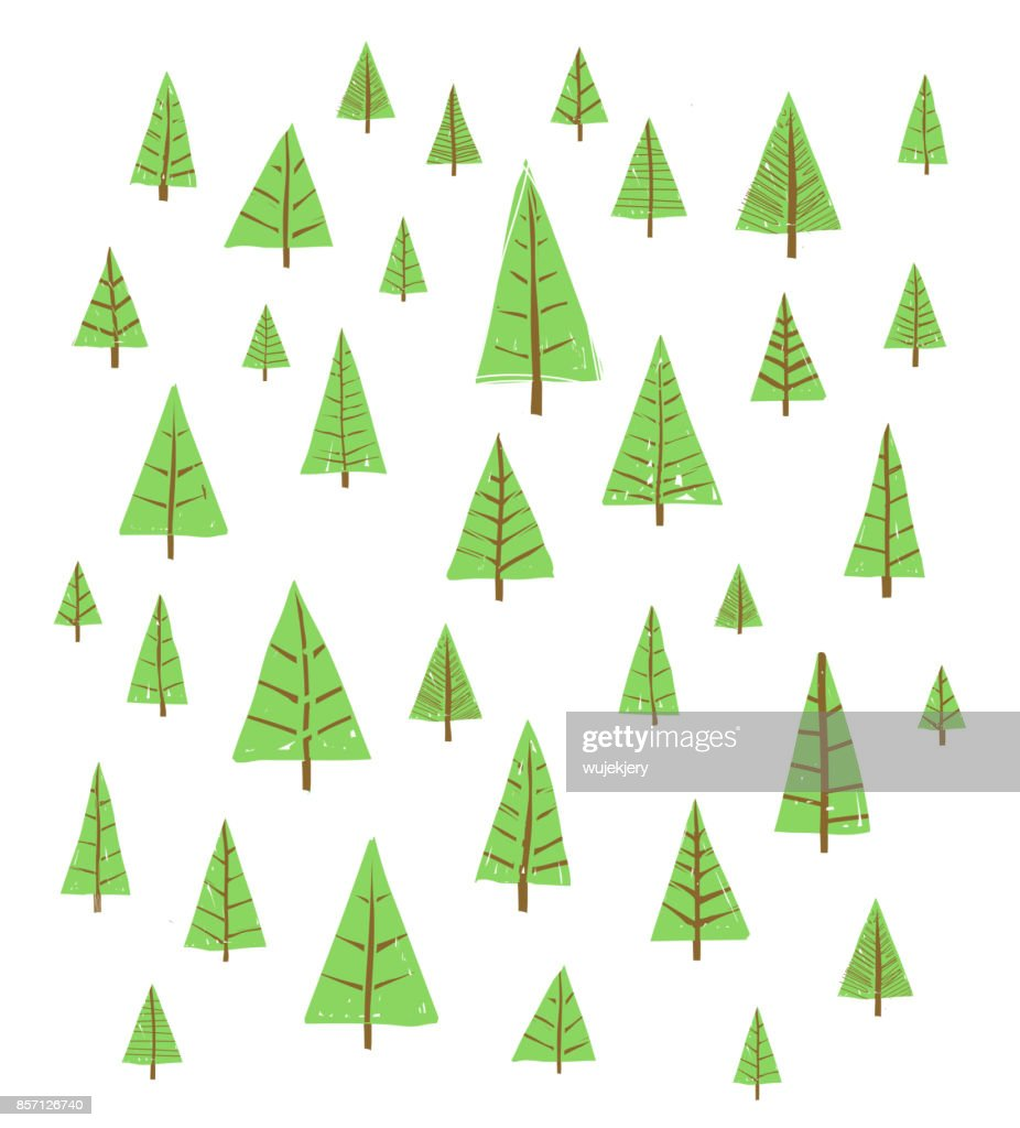 background with hand-drawn trees, Christmas trees