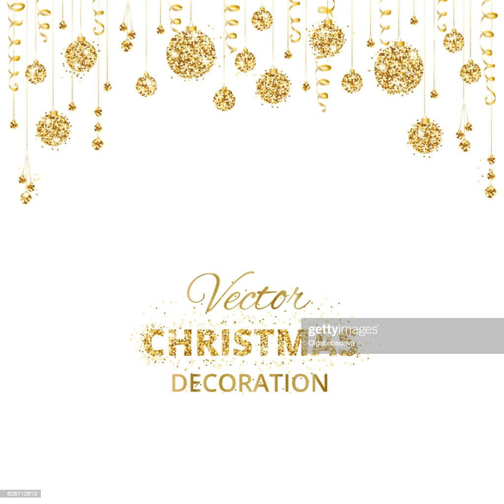 Background with hanging christmas balls and ribbons isolated on white.