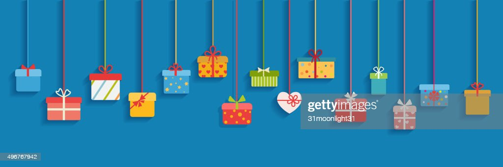 Background with hanging gift boxes