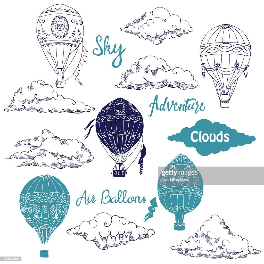 Background with Hot Air Balloons and Clouds