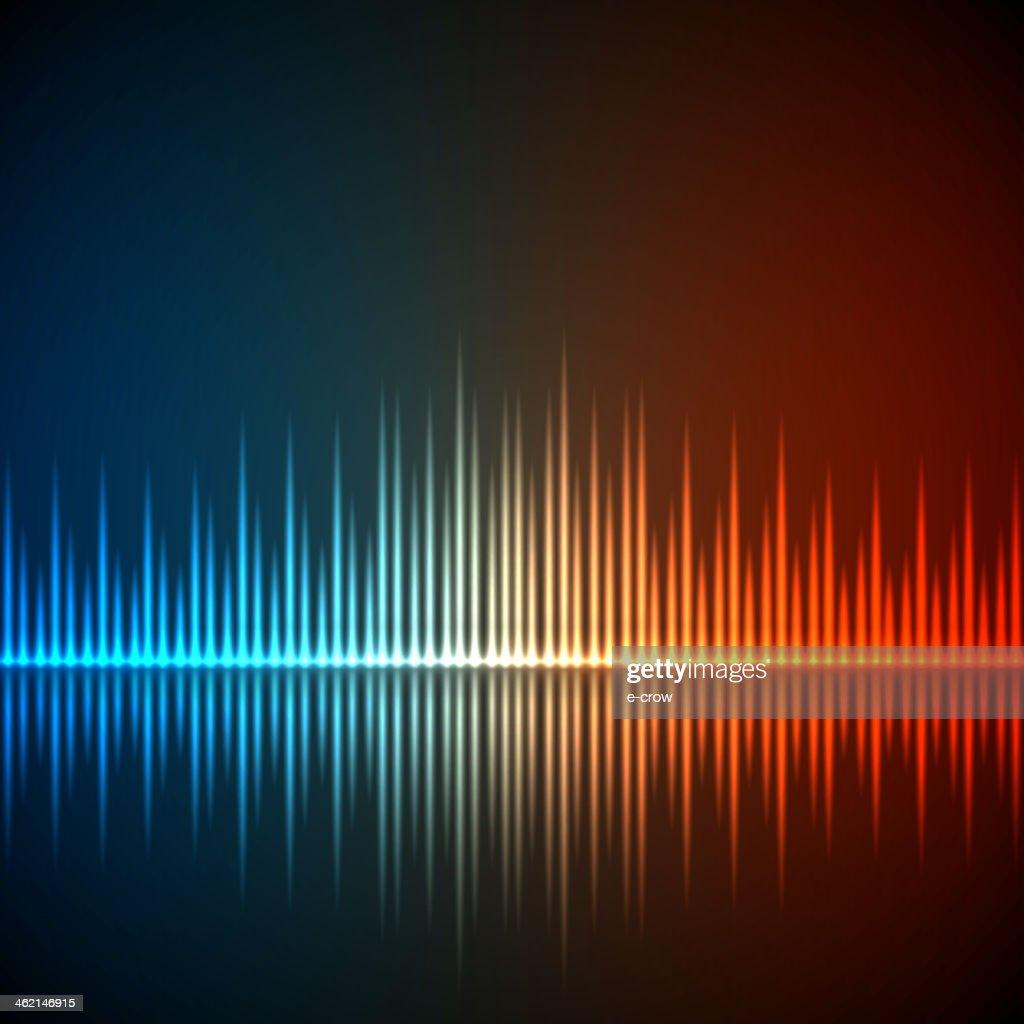 Background with illuminated equalizer music waves