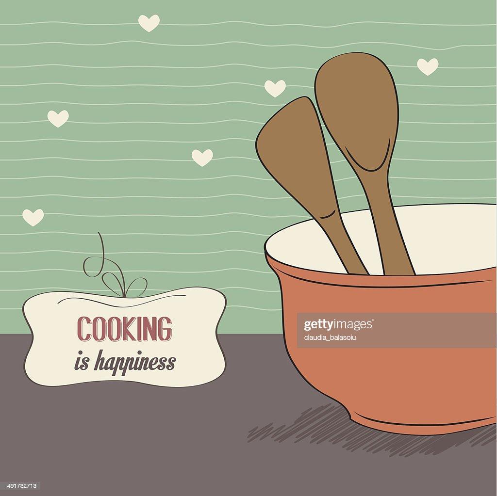 Hintergrund Mit Holzernen Kuchenutensilien Kuche Kochen Aufbewahrung Pot Stock Illustration Getty Images