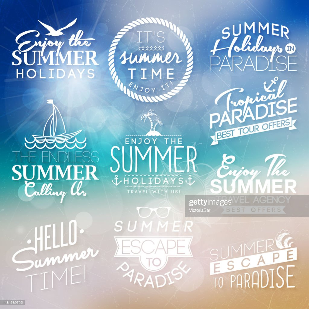 Background with labels for summer design.