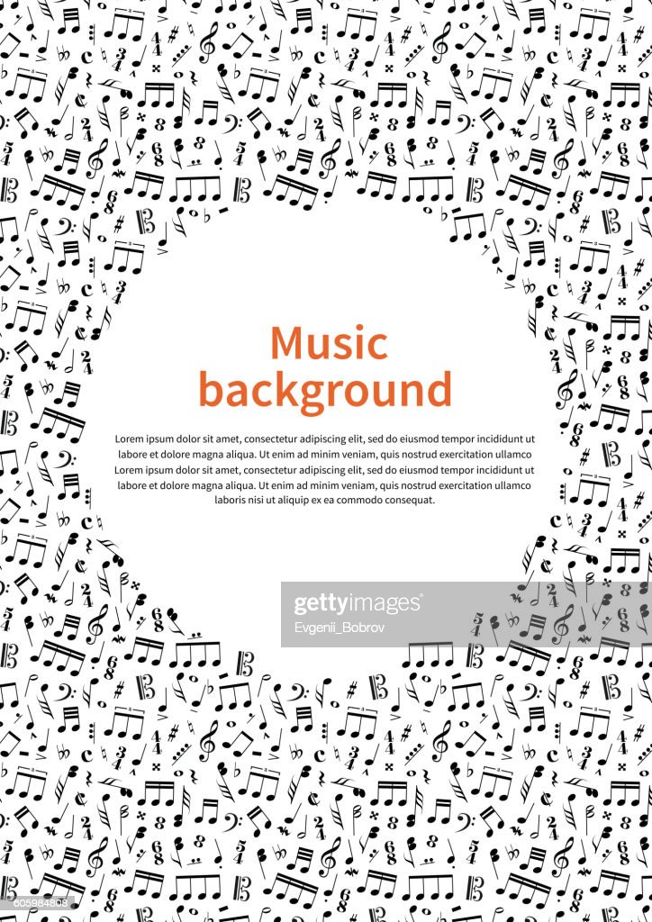 Background with music signs and text template