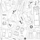 Background with patterns of women clothes and elements of sewing
