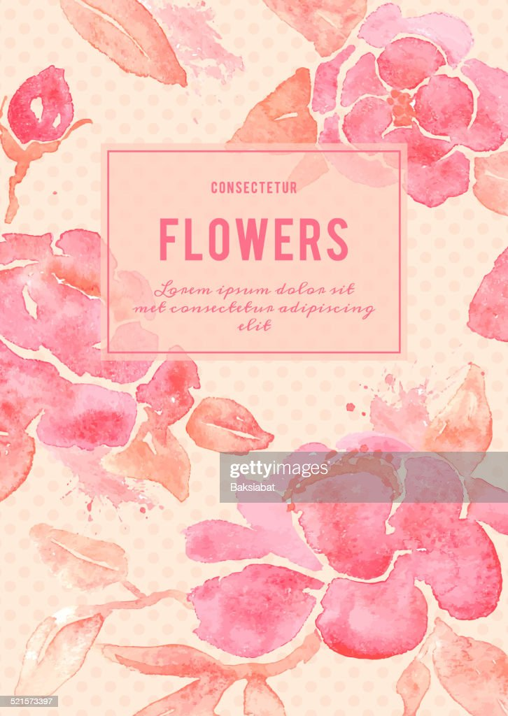 Background with Peony flowers in vector.
