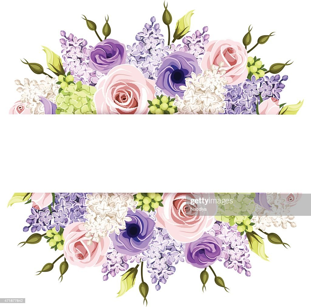 Background with pink, purple and white roses and lilac flowers. Vector.