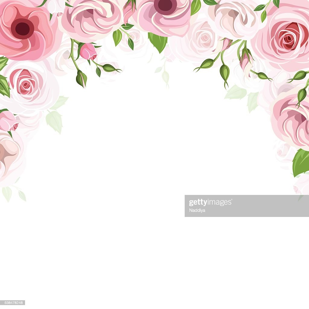 Background with pink roses and lisianthus flowers. Vector illustration.