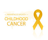 Background with realistic gold ribbon. World childhood cancer symbol. Vector illustration.