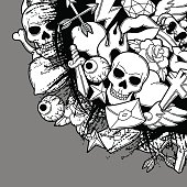Background with retro tattoo symbols. Cartoon old school illustration