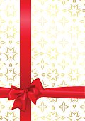 Background with seamless pattern and red bow