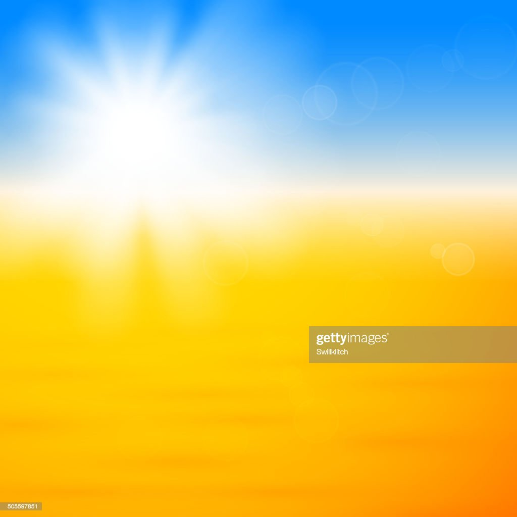 Background with shiny sun over the sand