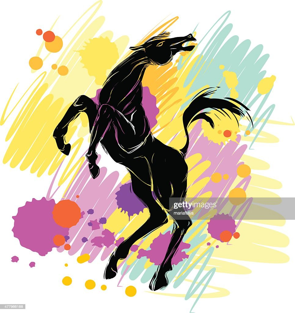 Background with silhouette of horse
