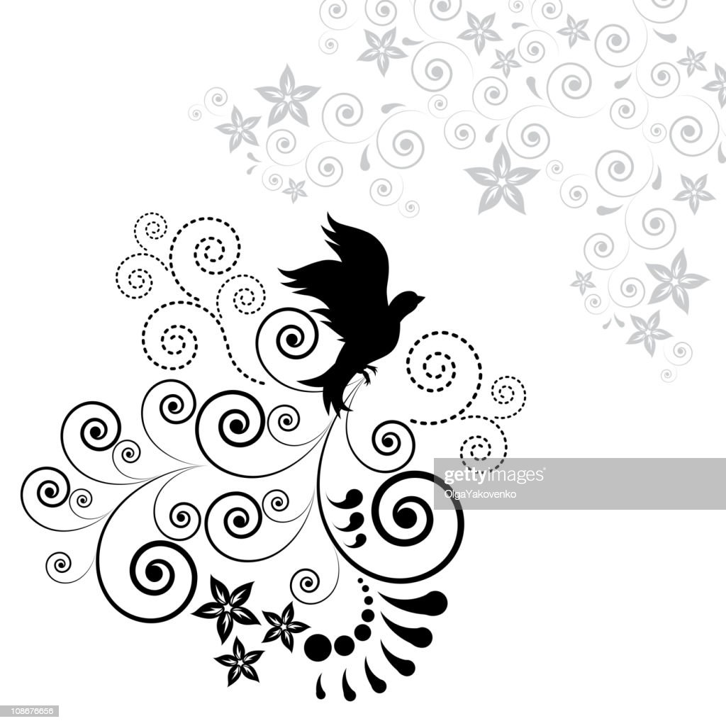 Background with silhouettes of birds and floral elements.