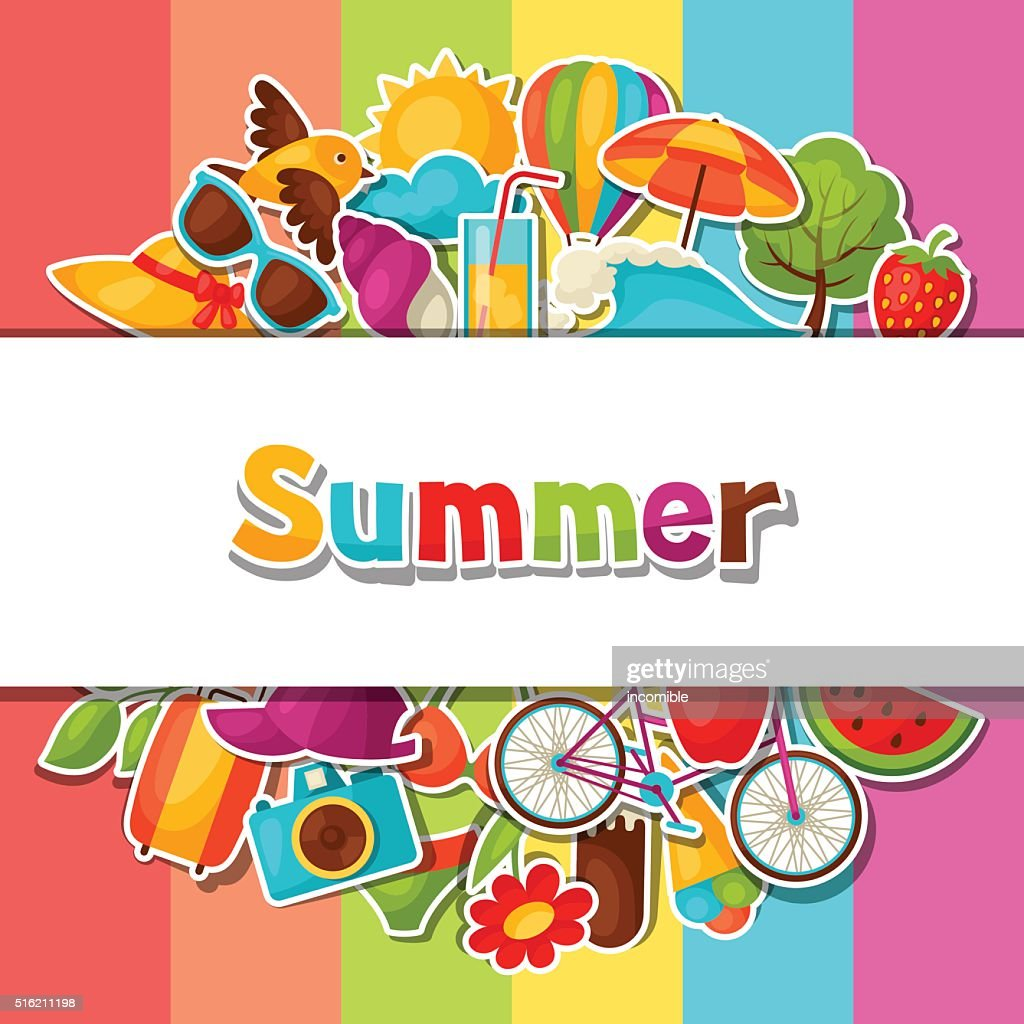 Background with summer stickers. Design for cards, covers, brochures and