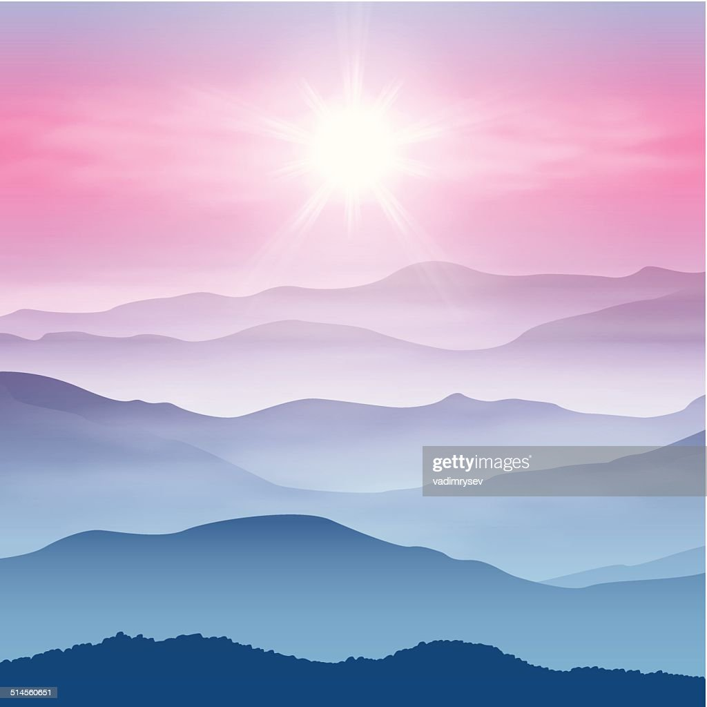 Background with sun and mountains in the fog