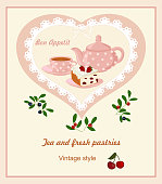 Background with teapot, Cup and cakes.